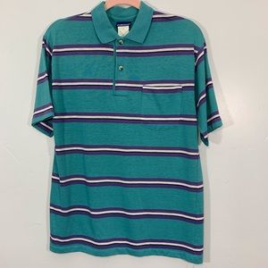 Vintage | 70's Blue Striped Polo Men's Shirt